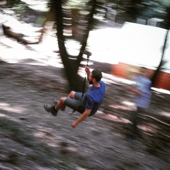 Riding the Zip Line at Sturtevant Camp